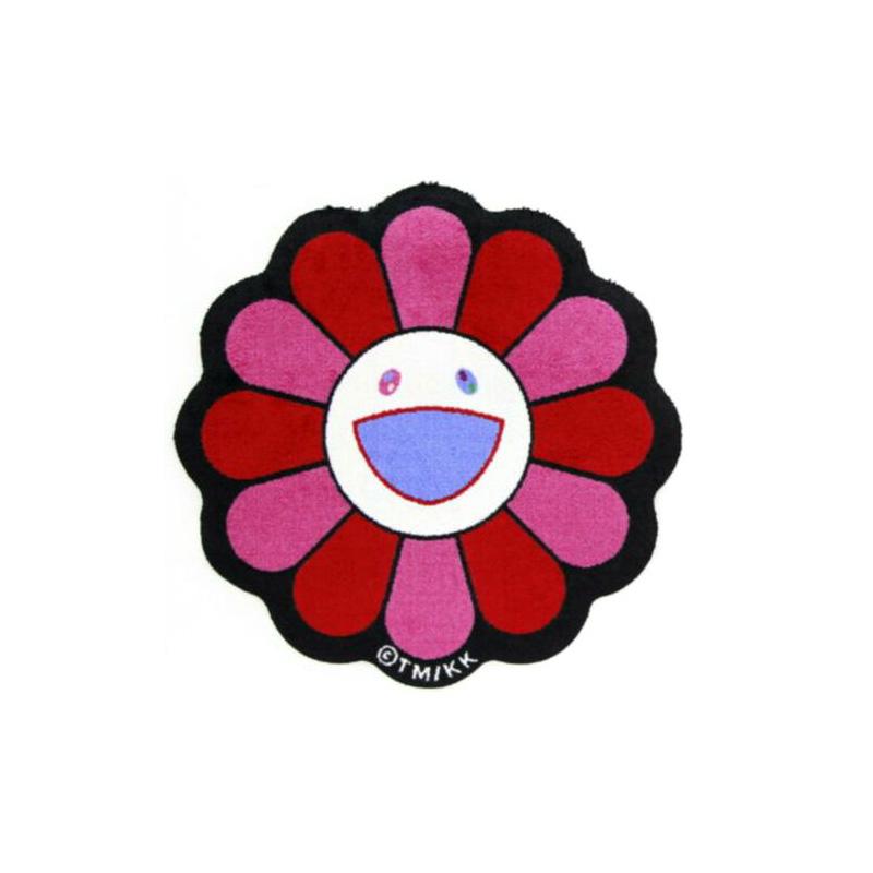 Flower-floor-mat-die-cut-red