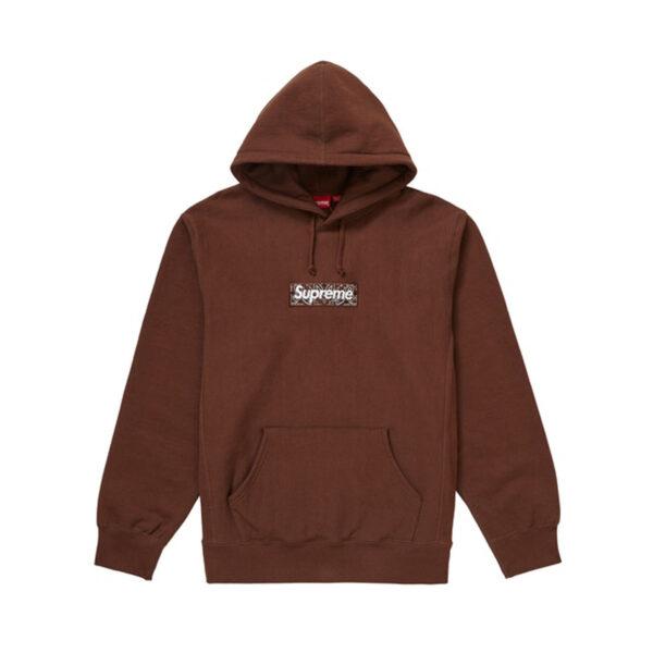 Supreme Bandana Box Logo Hooded Sweatshirt Dark Brown 19FW