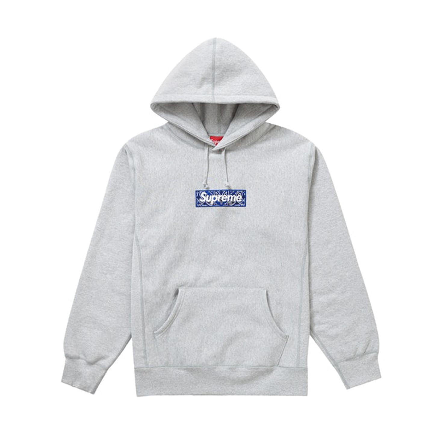 Supreme Bandana Box Logo Hooded Sweatshirt Heather Grey 19FW