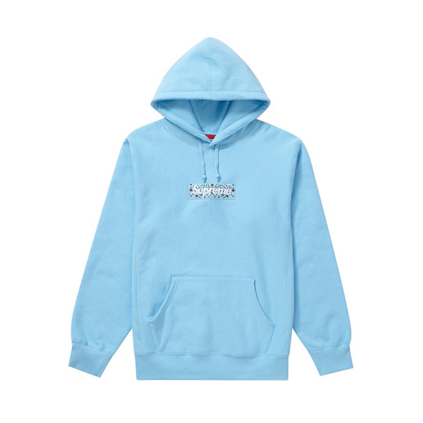 Supreme Bandana Box Logo Hooded Sweatshirt Light Blue 19FW