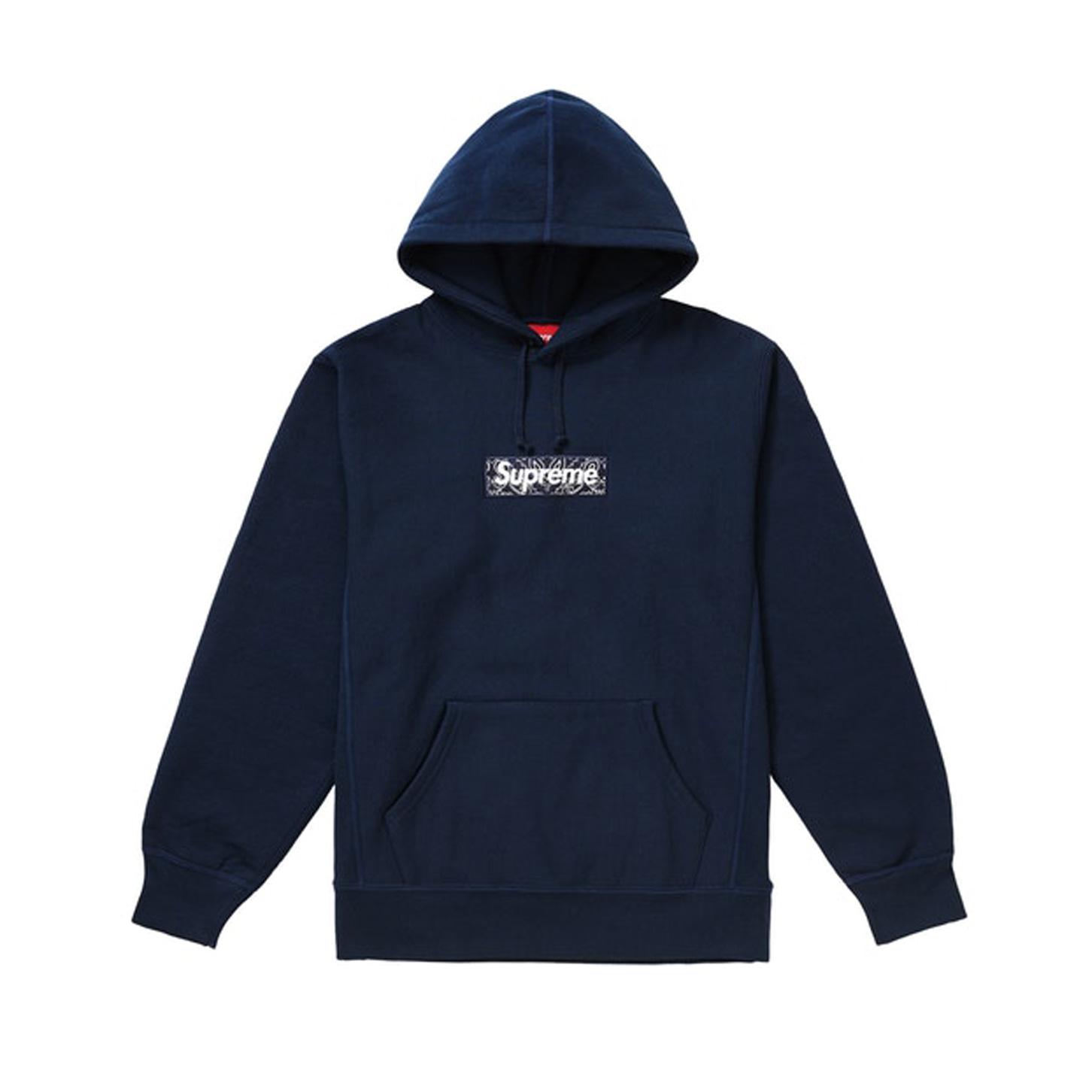 Supreme Bandana Box Logo Hooded Sweatshirt Navy 19FW