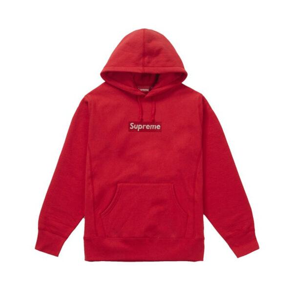 Supreme Swarovski Box Logo Hooded Sweatshirt Red 19SS