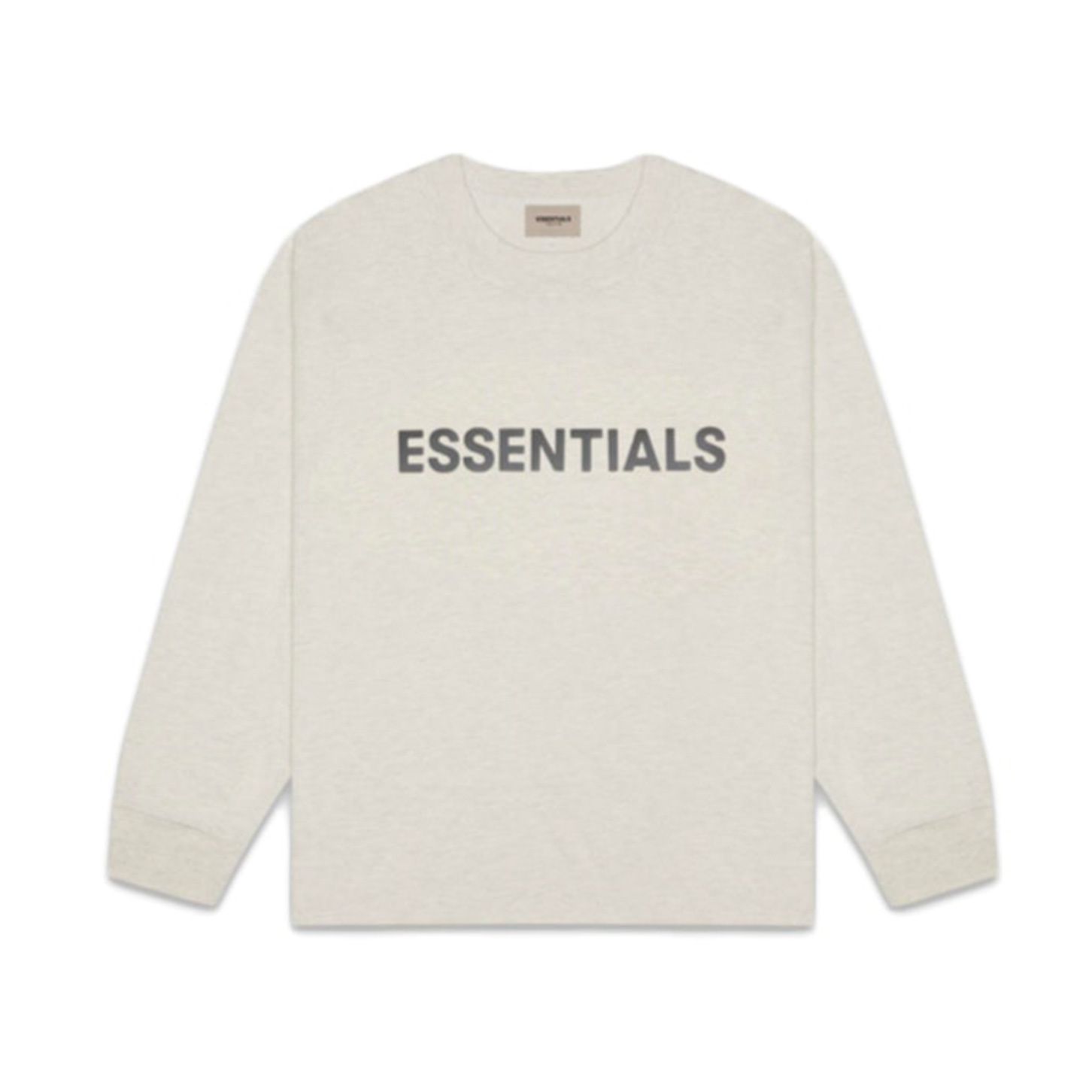 FEAR OF GOD ESSENTIALS 3D Silicon Applique Boxy Long Sleeve T-Shirt Oatmeal Heather 20SS