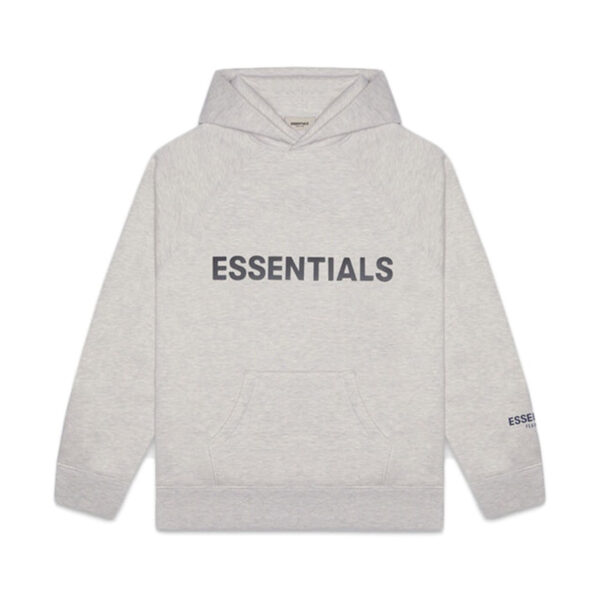 FEAR OF GOD ESSENTIALS 3D Silicon Applique Pullover Hoodie Heather Oatmeal 20FW