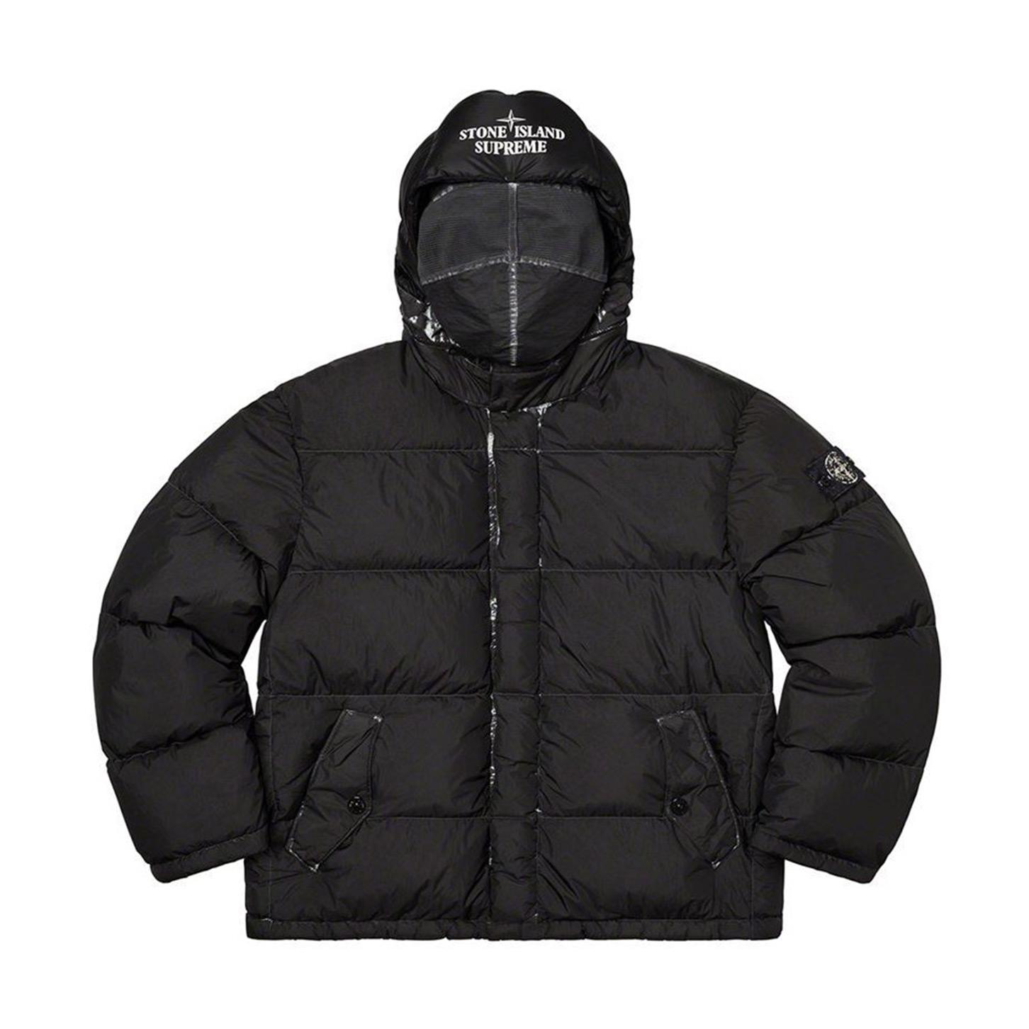 Supreme x Stone Island Painted Camo Crinkle Down Jacket Black 20FW
