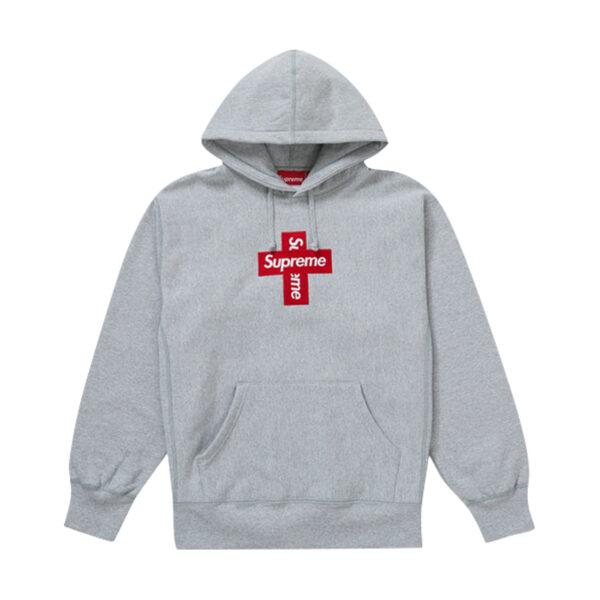 Supreme Cross Box Logo Hooded Sweatshirt Heather Grey 20FW