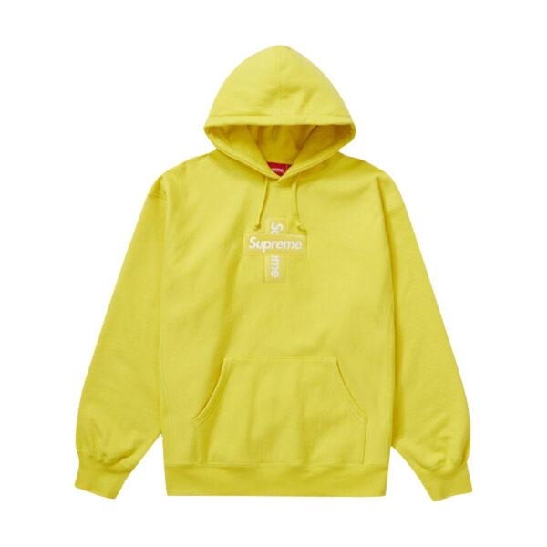 Supreme Cross Box Logo Hooded Sweatshirt Lemon 20FW