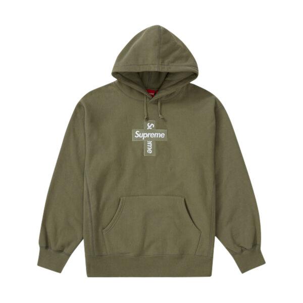Supreme Cross Box Logo Hooded Sweatshirt Light Olive 20FW