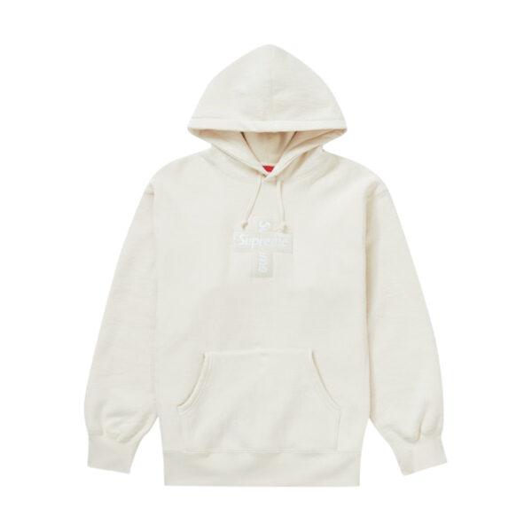 Supreme Cross Box Logo Hooded Sweatshirt Natural 20FW